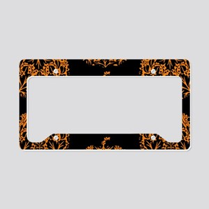 Pumpkin Damask Pattern License Plate Holder