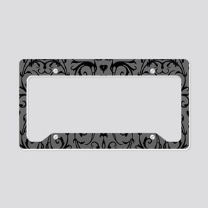 Grey And Black Damask Pattern License Plate Holder