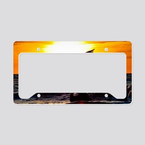 Pelican On Ocean At Sunset License Plate Holder