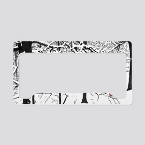 Snow Scene and Cardinals License Plate Holder