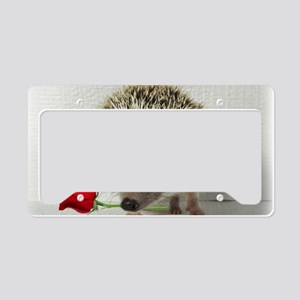 hedgehog with rose License Plate Holder