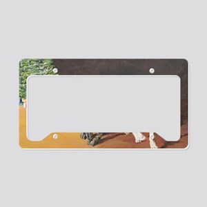 Puppies Chasing Santa Hat License Plate Holder