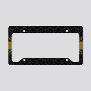 Golden Stripe Vintage Damask License Plate Holder