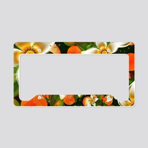 Fractal Orange Blossoms License Plate Holder