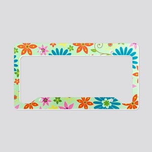 Flowers Background License Plate Holder