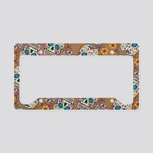 Sugar Skull Halloween Khaki License Plate Holder
