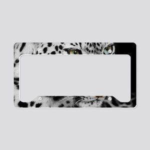 White Leopard License Plate Holder