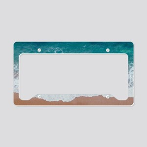 turquoise ocean waves beach License Plate Holder
