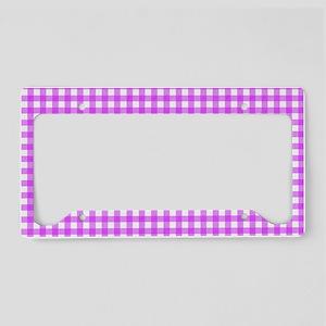Pink Gingham Pattern License Plate Holder