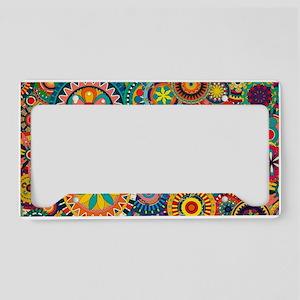 Funky Retro Pattern License Plate Holder