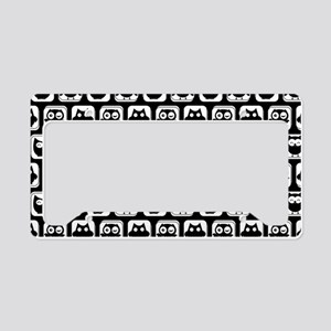 Black and White Owl Illustrat License Plate Holder