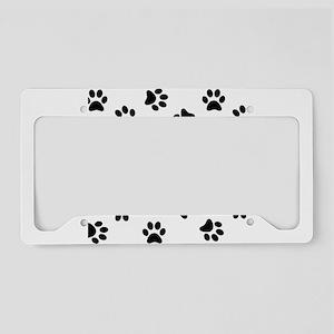 Black Pawprint pattern License Plate Holder
