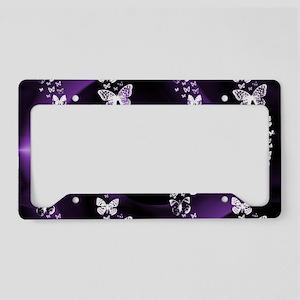 Purple Butterfly Swirl License Plate Holder