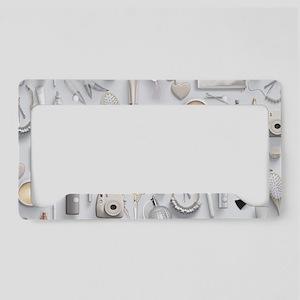 White Vanity Table License Plate Holder