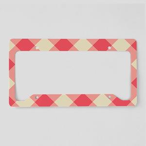 Red Gingham Plaid License Plate Holder