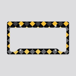 Yellow Charcoal Argyle License Plate Holder