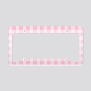 Pink Gingham Checkered Patter License Plate Holder
