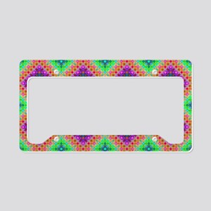 Green Pink and Purple Checker License Plate Holder