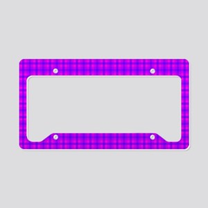 Purple and Pink Checkered Gin License Plate Holder