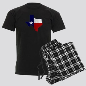 Texas Flag on Texas Outline Men's Dark Pajamas