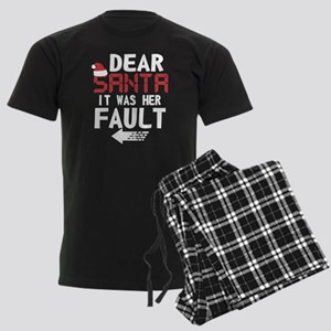 Dear Santa Was Her Fault Shirt Couple Xmas Pajamas