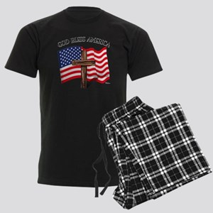 God Bless American With US Fla Men's Dark Pajamas