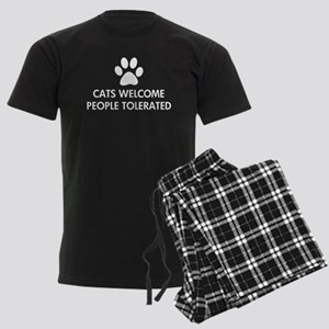 Cats Welcome People Tolerated Men's Dark Pajamas