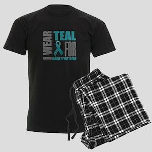 Teal Awareness Ribbon Customiz Men's Dark Pajamas