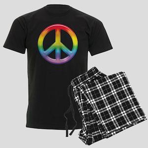 Rainbow Peace Sign Men's Dark Pajamas