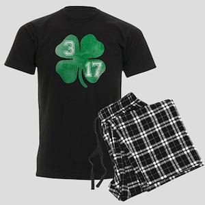 St Patricks Day 3/17 Shamrock Men's Dark Pajamas