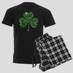 St Paddys Day Shamrock Men's Dark Pajamas