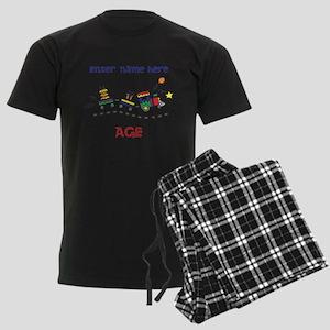 Personalized Birthday Train Men's Dark Pajamas