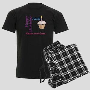 Personalized Birthday Cupcake Men's Dark Pajamas