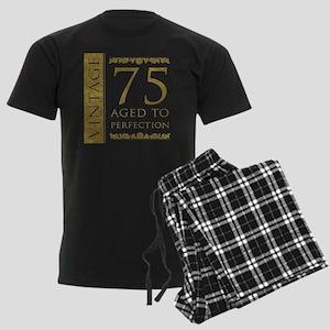 Fancy Vintage 75th Birthday Men's Dark Pajamas