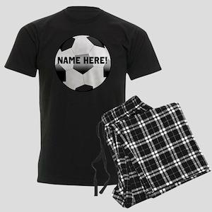 Personalized Name Soccer Ball Men's Dark Pajamas
