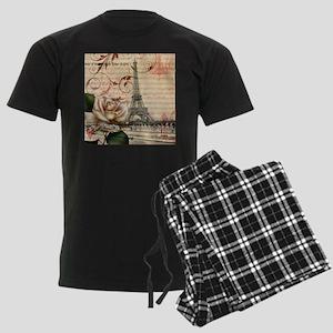girly rose eiffel tower paris Men's Dark Pajamas