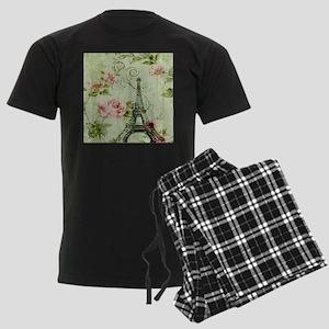 floral vintage paris eiffel to Men's Dark Pajamas