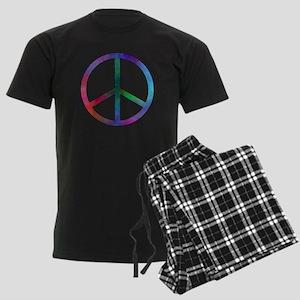 Multicolored Peace Sign Men's Dark Pajamas