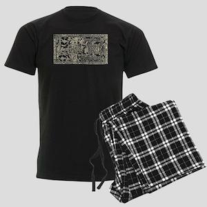 Palenque Ancient Astronaut UFO Men's Dark Pajamas