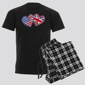 USA and UK Flag Hearts Men's Dark Pajamas