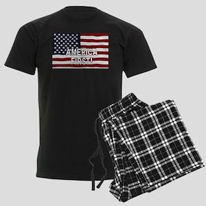 AMERICA FIRST! USA flag Men's Dark Pajamas