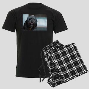 smiling lhasa type dog Men's Dark Pajamas