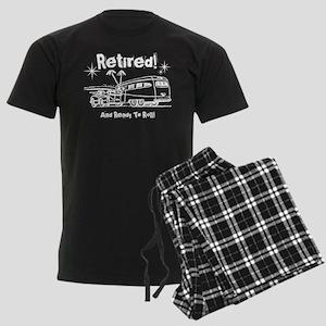 Retro Trailer Retired WHT Men's Dark Pajamas