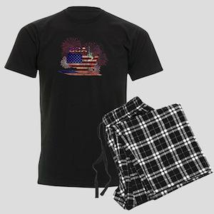 USA FIREWORKS STARS STRIPES LA Men's Dark Pajamas
