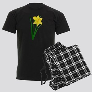 Yellow Daffodil Men's Dark Pajamas