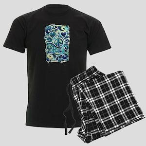 Colorful Hippie Art Men's Dark Pajamas
