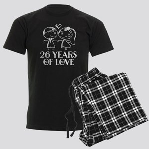 26th Anniversary chalk couple Men's Dark Pajamas