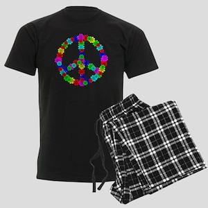 1960's Era Hippie Flower Peace Men's Dark Pajamas