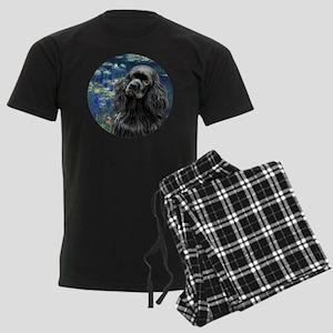 J-ORN-Lilies5-Cocker-black Men's Dark Pajamas