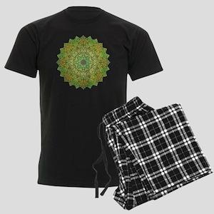 Green Gold Heart Chakra Mandal Men's Dark Pajamas